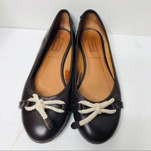 Hunter brown leather ballet flats bow 7.5